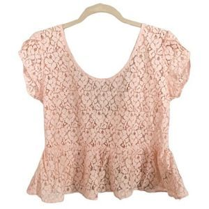 Pins & Needles top pink lace peplum L